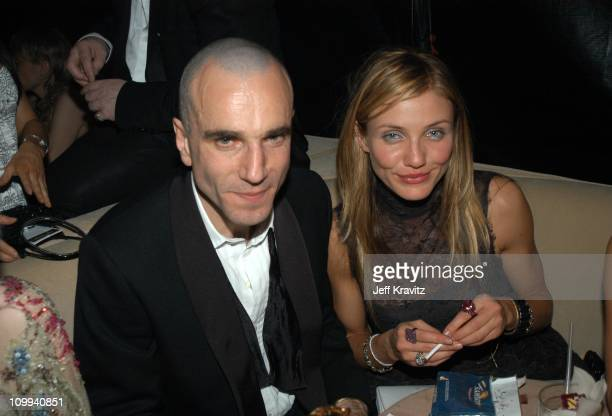 Daniel Day Lewis and Cameron Diaz during Miramax 2003 Golden Globes Party Sponsored by Glamour Magazine and Coors at Trader Vic's in Beverly Hills CA...