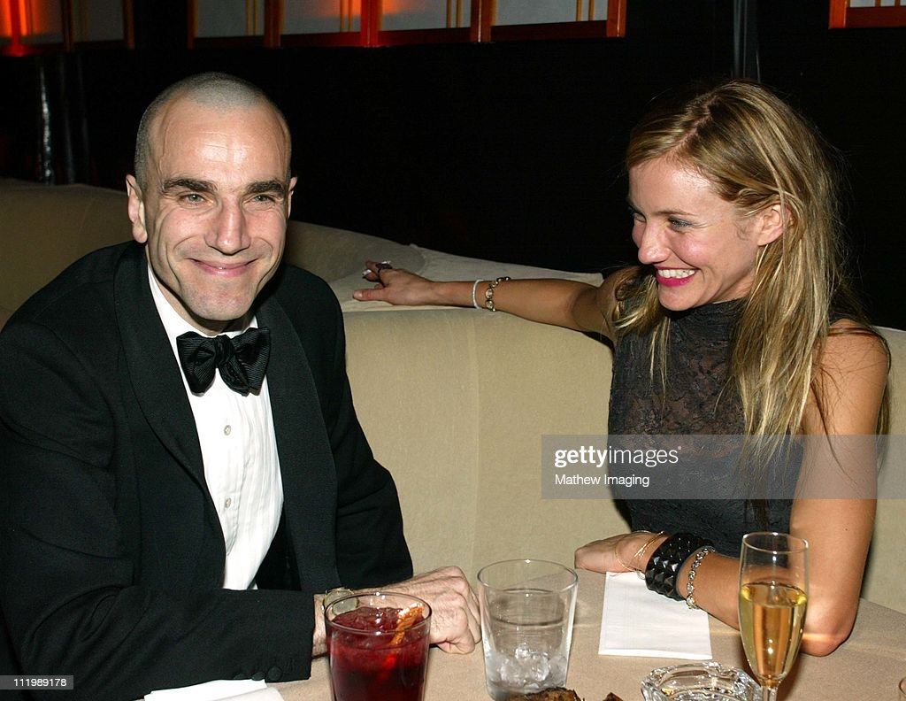 Daniel Day Lewis and <a gi-track='captionPersonalityLinkClicked' href=/galleries/search?phrase=Cameron+Diaz&family=editorial&specificpeople=201892 ng-click='$event.stopPropagation()'>Cameron Diaz</a> during Miramax 2003 Golden Globes Party Sponsored by Glamour Magazine and Coors at Trader Vic's in Beverly Hills, CA, United States.