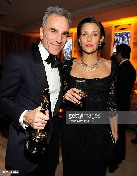 Daniel Day Lewis and Rebecca Miller attends the 2013 Vanity Fair Oscar Party hosted by Graydon Carter at Sunset Tower on February 24 2013 in West...