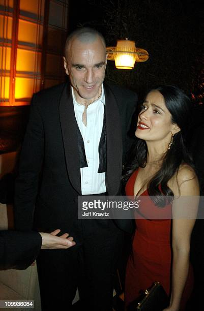 Daniel Day Lewis and Salma Hayek during Miramax 2003 Golden Globes Party Sponsored by Glamour Magazine and Coors at Trader Vic's in Beverly Hills CA...