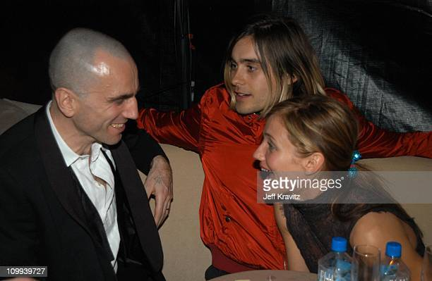 Daniel Day Lewis Jared Leto and Cameron Diaz during Miramax 2003 Golden Globes Party Sponsored by Glamour Magazine and Coors at Trader Vic's in...