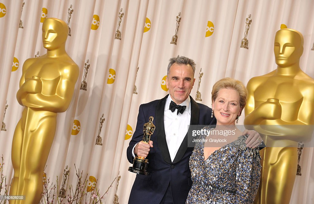 Daniel Day-Lewis and Meryl Streep arrive to the 85th Annual Academy Awards Press Room held at Hollywood & Highland Center on February 24, 2013 in Hollywood, California.