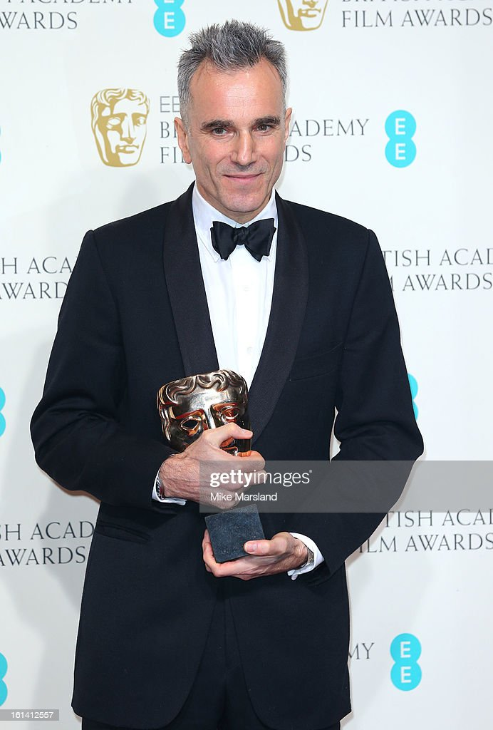 <a gi-track='captionPersonalityLinkClicked' href=/galleries/search?phrase=Daniel+Day-Lewis&family=editorial&specificpeople=211475 ng-click='$event.stopPropagation()'>Daniel Day-Lewis</a> poses in the Press Room at the EE British Academy Film Awards at The Royal Opera House on February 10, 2013 in London, England.
