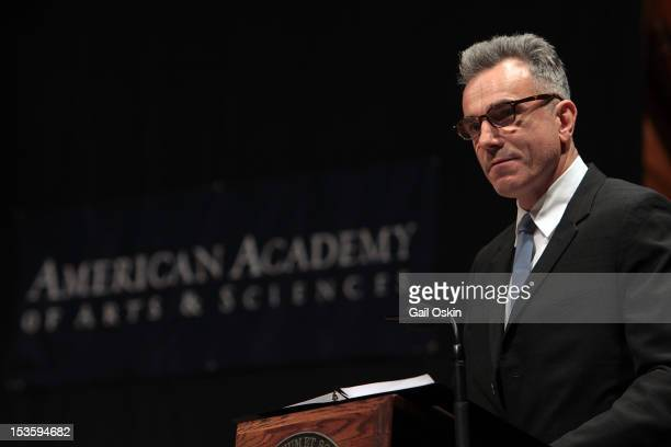 Daniel DayLewis who portrays Abraham Lincoln in his upcoming film reads from Lincoln's letters at his induction into the American Academy of Arts and...