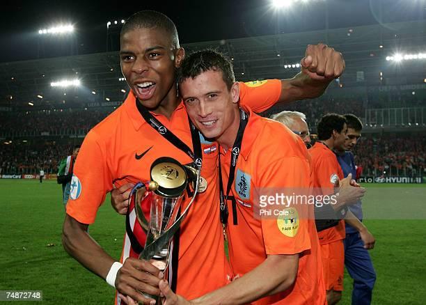 Daniel De Ridder left and Julian Jenner of the Netherlands Celebrate winning the UEFA European Under21 Championship Final match between the...