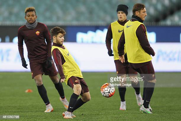 Daniel De Silva of AS Roma competes for the ball during an AS Roma training session at Melbourne Cricket Ground on July 17 2015 in Melbourne Australia