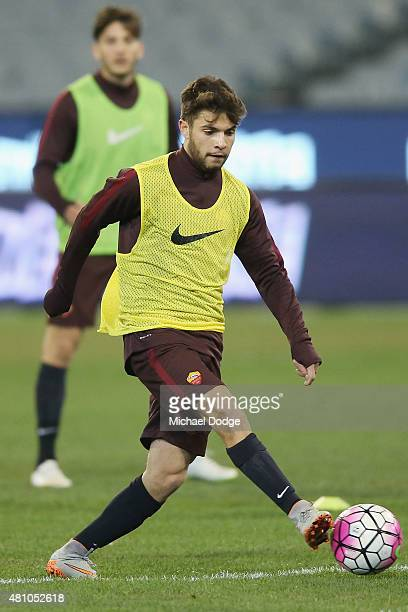 Daniel De Silva of AS Roma controls the ball during an AS Roma training session at Melbourne Cricket Ground on July 17 2015 in Melbourne Australia