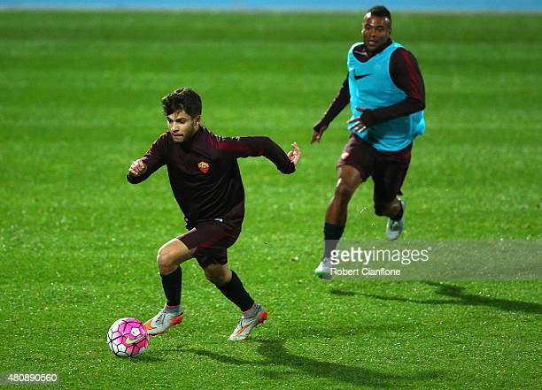 Daniel De Silva of AS Roma runs with the ball during an AS Roma training session at Lakeside Stadium on July 16 2015 in Melbourne Australia