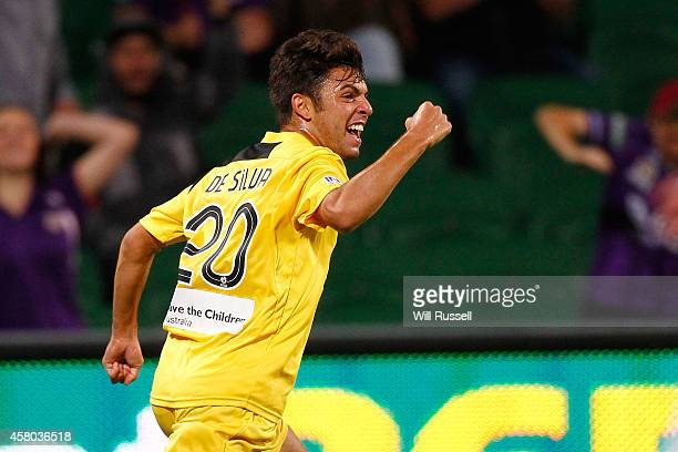Daniel De Silva of the Glory celebrates after scoring a goal during the FFA Cup Quarter FInal match between the Perth Glory and Melbourne Victory at...