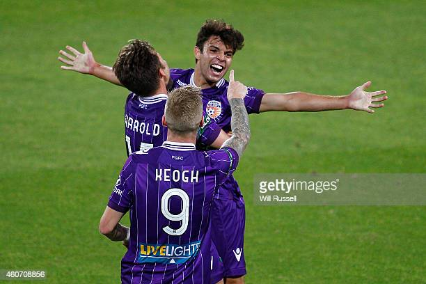 Daniel De Silva of the Glory celebrates after scoring a goal during the round 12 ALeague match between Perth Glory and Central Coast Mariners at nib...