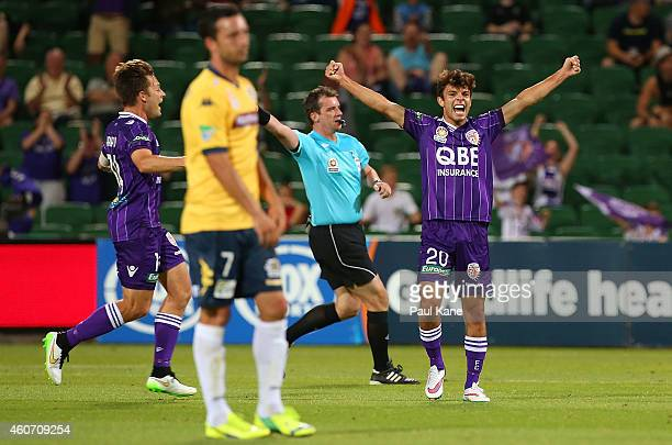Daniel de Silva of the Glory celebrates after scoring the teams 4th goal during the round 12 ALeague match between Perth Glory and Central Coast...