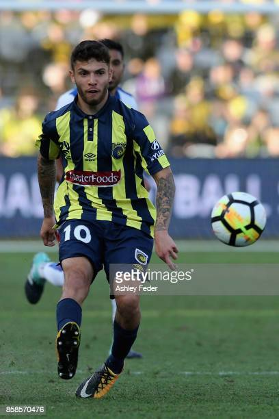 Daniel De Silva of the Mariners controls the ball during the round one ALeague match between the Central Coast Mariners and the Newcastle Jets at...