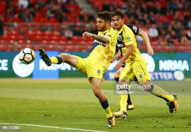 Daniel De Silva of the Mariners in action during the round two ALeague match between the Western Sydney Wanderers and the Central Coast Mariners at...