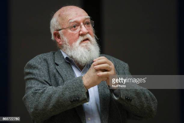 Daniel Dennett an American philosopher writer and cognitive scientist gives a lecture 'quotFrom Bacteria to Bach amp Back' at Jagiellonian University...