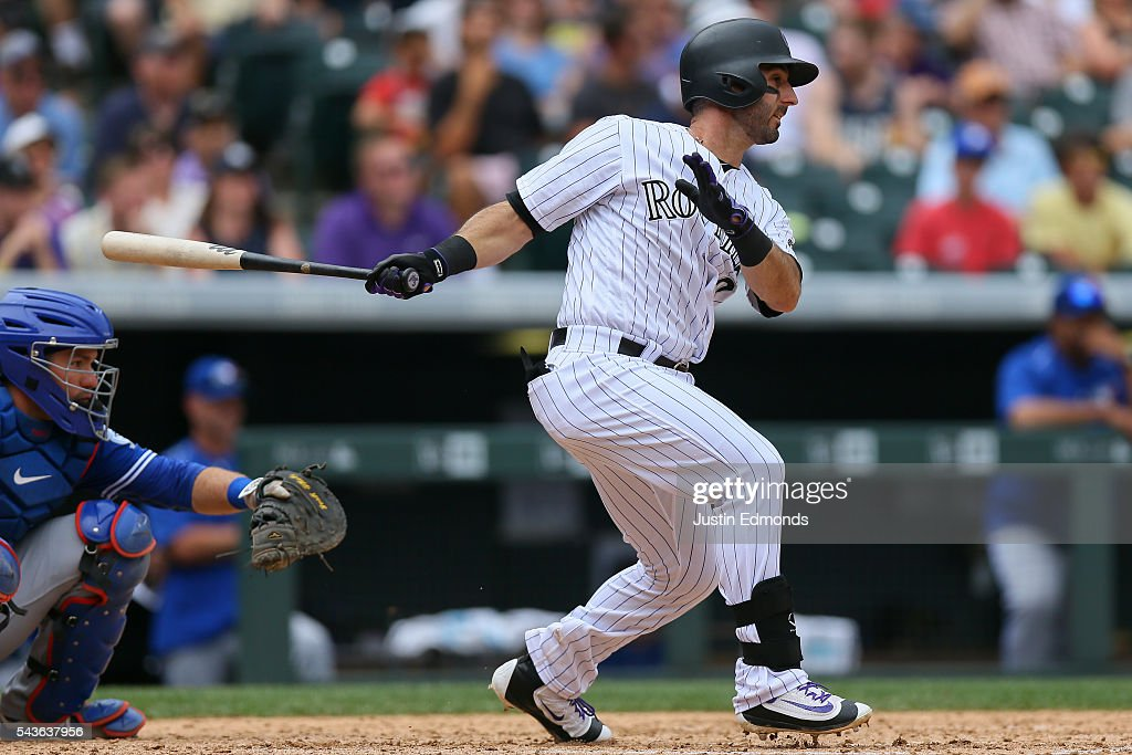 <a gi-track='captionPersonalityLinkClicked' href=/galleries/search?phrase=Daniel+Descalso&family=editorial&specificpeople=6800752 ng-click='$event.stopPropagation()'>Daniel Descalso</a> #3 of the Colorado Rockies hits an RBI single during the fourth inning against the Toronto Blue Jays at Coors Field on June 29, 2016 in Denver, Colorado.