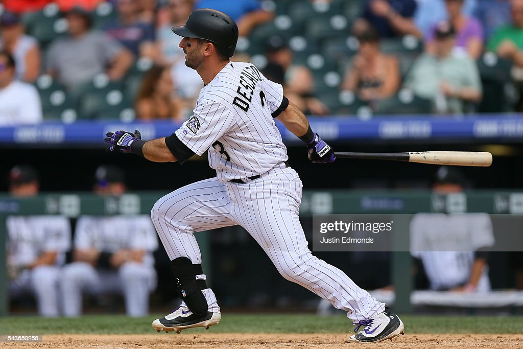 <a gi-track='captionPersonalityLinkClicked' href=/galleries/search?phrase=Daniel+Descalso&family=editorial&specificpeople=6800752 ng-click='$event.stopPropagation()'>Daniel Descalso</a> #3 of the Colorado Rockies watches his RBI double during the ninth inning against the Toronto Blue Jays at Coors Field on June 29, 2016 in Denver, Colorado. The Blue Jays defeated the Rockies 5-3.