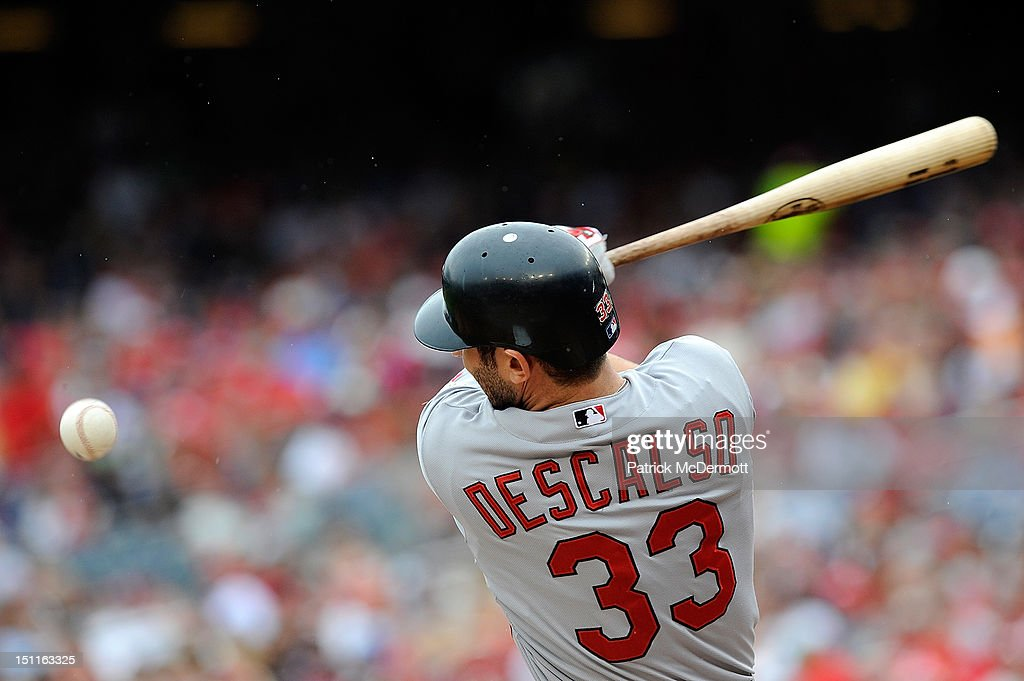 <a gi-track='captionPersonalityLinkClicked' href=/galleries/search?phrase=Daniel+Descalso&family=editorial&specificpeople=6800752 ng-click='$event.stopPropagation()'>Daniel Descalso</a> #33 of the St. Louis Cardinals hits a foul ball in the second inning against the Washington Nationals at Nationals Park on September 2, 2012 in Washington, DC.