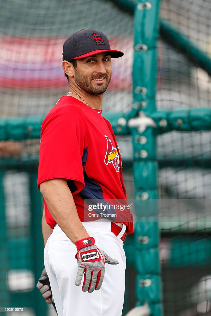 Daniel Descalso #33 of the St. Louis Cardinals looks on during batting practice prior to the game against the Miami Marlins the Roger Dean Stadium on February 28, 2013 in Jupiter, Florida.