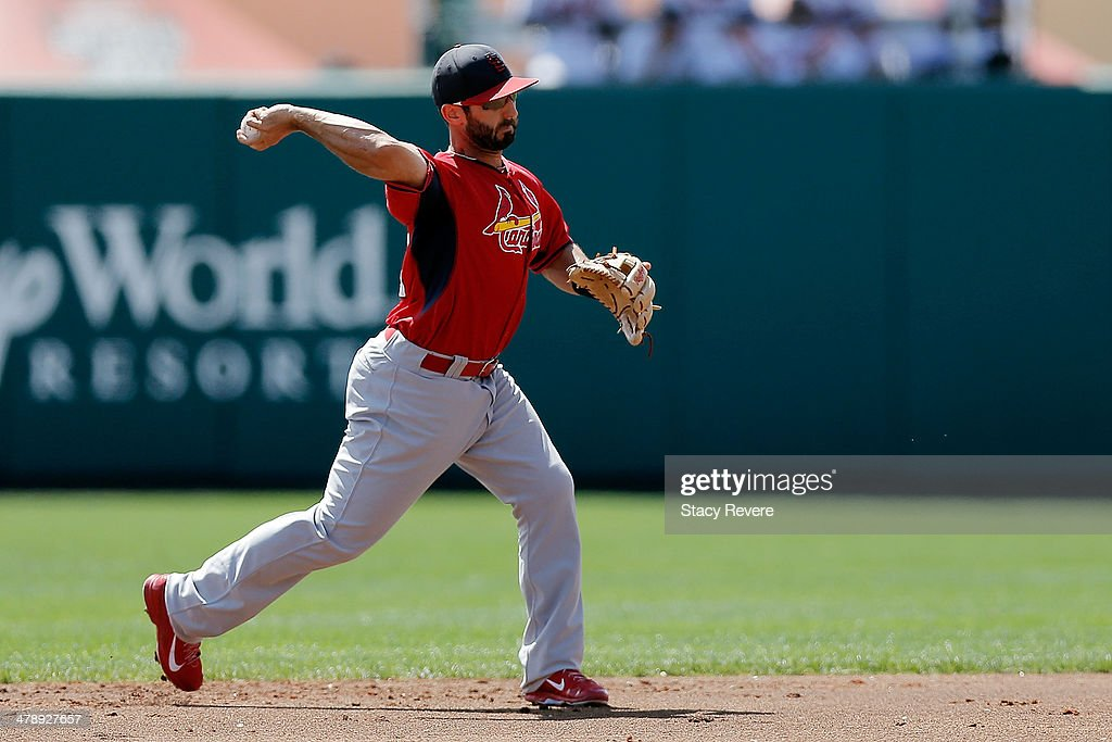 <a gi-track='captionPersonalityLinkClicked' href=/galleries/search?phrase=Daniel+Descalso&family=editorial&specificpeople=6800752 ng-click='$event.stopPropagation()'>Daniel Descalso</a> #33 of the St. Louis Cardinals makes a throw to first base in the second inning of a game against the Atlanta Braves at Champion Stadium on March 15, 2014 in Lake Buena Vista, Florida. St. Louis won the game 6-2.