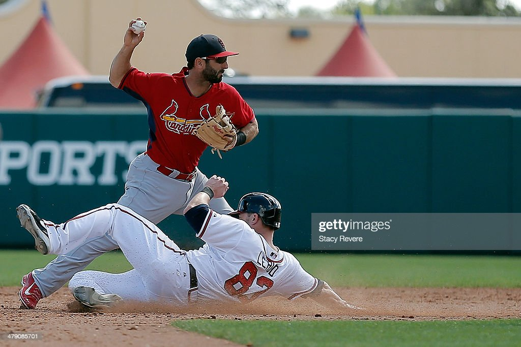 <a gi-track='captionPersonalityLinkClicked' href=/galleries/search?phrase=Daniel+Descalso&family=editorial&specificpeople=6800752 ng-click='$event.stopPropagation()'>Daniel Descalso</a> #33 of the St. Louis Cardinals makes a throw to first base over Steve Lerud #83 of the Atlanta Braves in the eighth inning of a game at Champion Stadium on March 15, 2014 in Lake Buena Vista, Florida. St. Louis won the game 6-2.