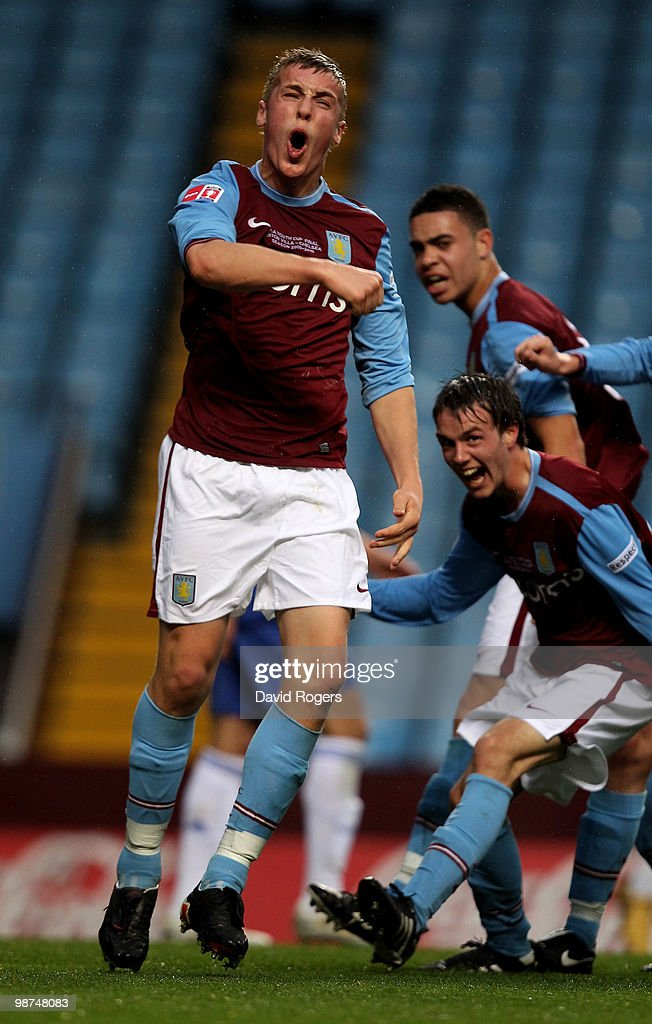Daniel Devine of Aston Villa celebrates after scoring the first goal during the FA Youth Cup Final 1st leg between Aston Villa and Chelsea at Villa...
