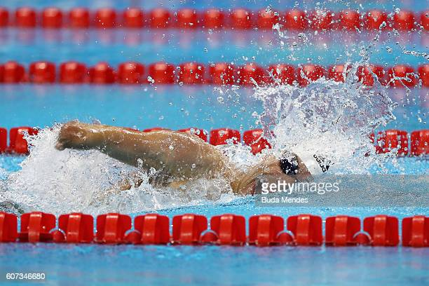 Daniel Dias of Brazil competes in the Men's 100m Freestyle S5 Final on day 10 of the Rio 2016 Paralympic Games at the Olympic Aquatics Stadium on...