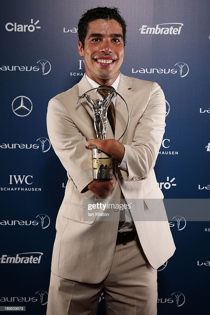 Daniel Dias poses with the award for Laureus World Sportsperson of the Year with a Disability in the winners studio during the 2013 Laureus World Sports Awards at Theatro Municipal do Rio de Janeiro on March 11, 2013 in Rio de Janeiro, Brazil.