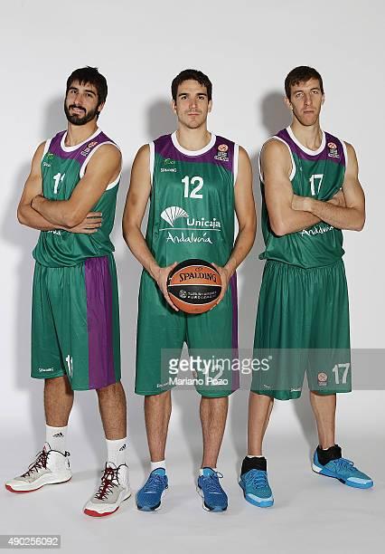 Daniel Diaz #11 of Unicaja Malaga Carlos Suarez #12 and Fran Vazquez #17 poses during 2015/2016 Turkish Airlines Euroleague Basketball Media Day at...