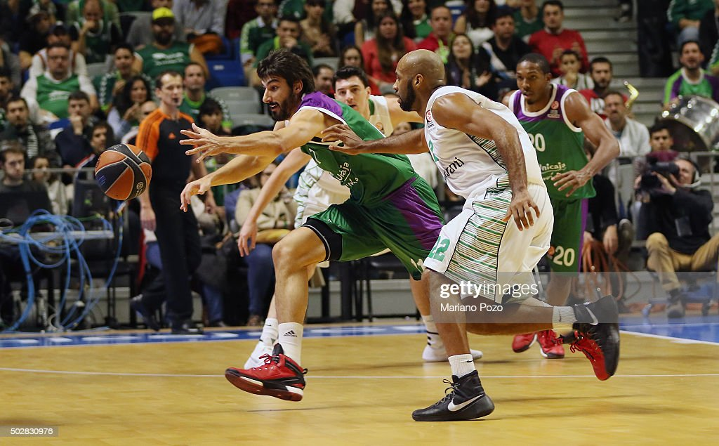 Daniel Diaz, #11 of Unicaja Malaga in action during the Turkish Airlines Euroleague Basketball Top 16 Round 1 game between Unicaja Malaga v Darussafaka Dogus Istanbul at Martin Carpena Arena on December 29, 2015 in Malaga, Spain.