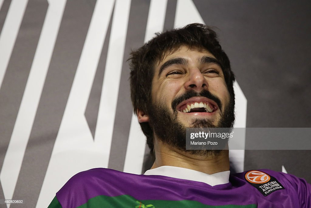 Daniel Diaz, #11 of Unicaja Malaga laughing before the Turkish Airlines Euroleague Basketball Regular Season Date 1 game Unicaja Malaga v Brose Baskets Bamberg at Martin Carpena Arena on October 15, 2015 in Malaga, Spain.