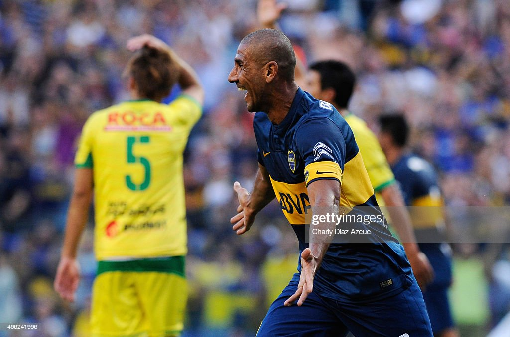 Daniel Diaz of Boca Juniors celebrates after scoring the first goal during a match between Boca Juniors and Defensa y Justicia as part of round 5 of Torneo Primera Division 2015 at Alberto J. Armando Stadium on March 14, 2015 in Buenos Aires, Argentina.