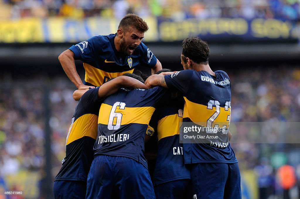 Daniel Diaz of Boca Juniors celebrates with his teammates a goal during a match between Boca Juniors and Defensa y Justicia as part of round 5 of Torneo Primera Division 2015 at Alberto J. Armando Stadium on March 14, 2015 in Buenos Aires, Argentina.