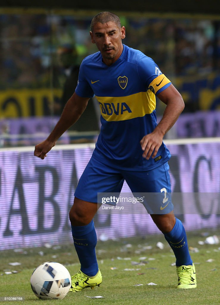 Daniel Diaz, of Boca Juniors, plays the ball during a match between Boca Juniors and Atletico Tucuman as part of second round of Torneo Transicion 2016 at Alberto J Armando Stadium on February 14, 2016 in Buenos Aires, Argentina.