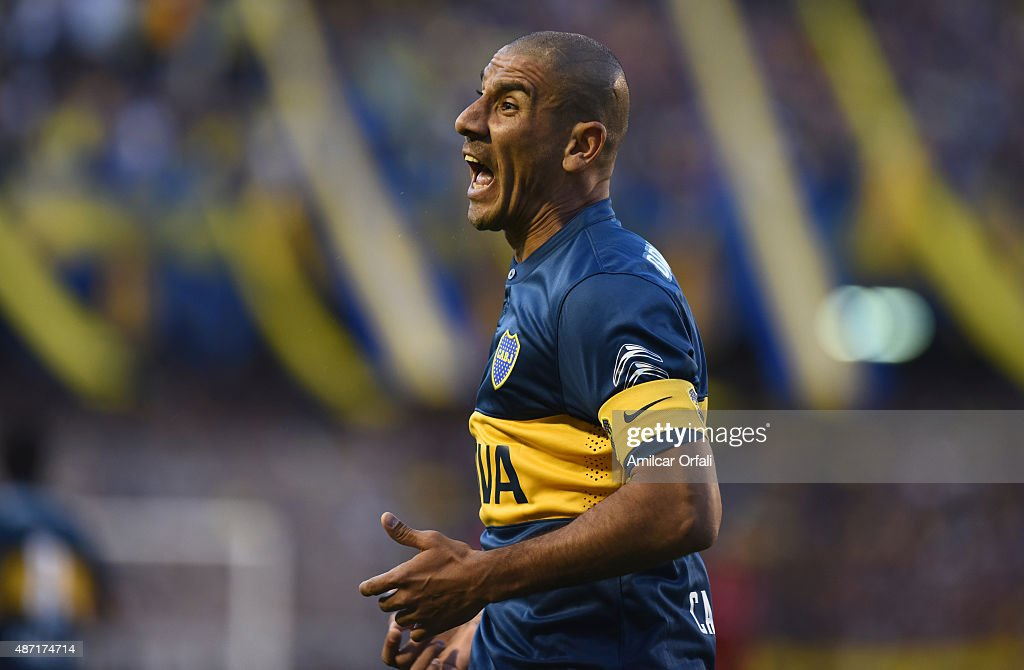 Daniel Diaz of Boca Juniors reacts during a match between Boca Juniors and San Lorenzo as part of 23rd round of Torneo Primera Division 2015 at Alberto J. Armando Stadium on September 06, 2015 in Buenos Aires, Argentina.