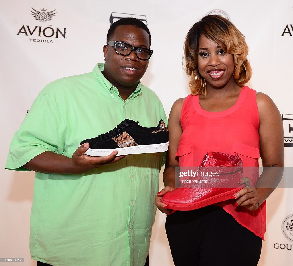Daniel Dickey and Necole Garner attend the Young Jeezy and Gourmet Footwear branding partnership launch at Wish Shoe Store on June 13, 2013 in Atlanta, Georgia.