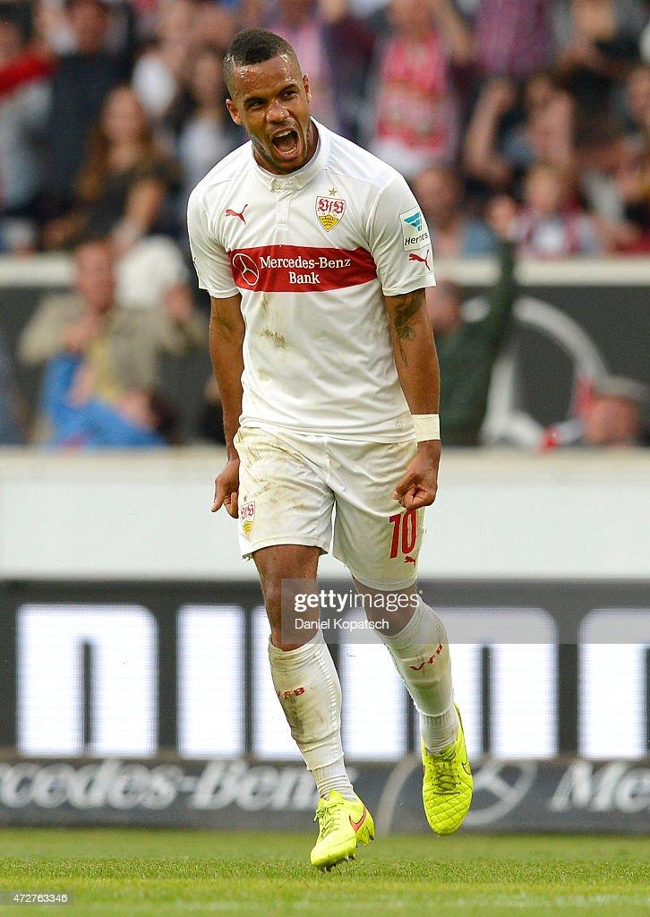Daniel Didavi of Stuttgart celebrates his team's first goal during the Bundesliga match between VfB Stuttgart and 1 FSV Mainz 05 at MercedesBenz...