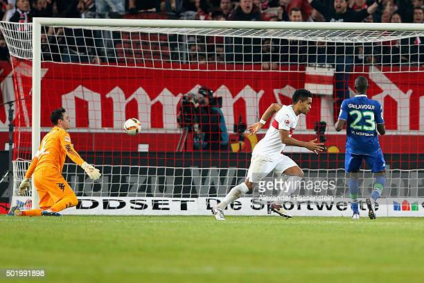 Daniel Didavi of Stuttgart celebrates scoring the 3rd team goal during the Bundesliga match between VfB Stuttgart and VfL Wolfsburg at MercedesBenz...