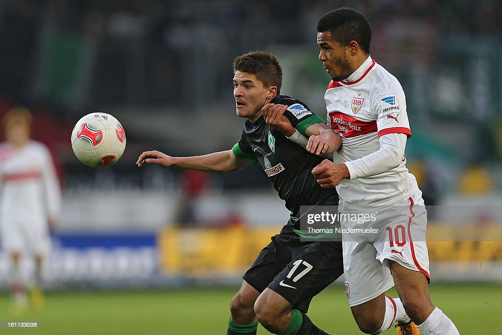 Daniel Didavi (R) of Stuttgart fights for the ball with <a gi-track='captionPersonalityLinkClicked' href=/galleries/search?phrase=Aleksandar+Ignjovski&family=editorial&specificpeople=6129439 ng-click='$event.stopPropagation()'>Aleksandar Ignjovski</a> (L) of Bremen during the Bundesliga match between VfB Stuttgart and Werder Bremen at Mercedes-Benz Arena on February 9, 2013 in Stuttgart, Germany.
