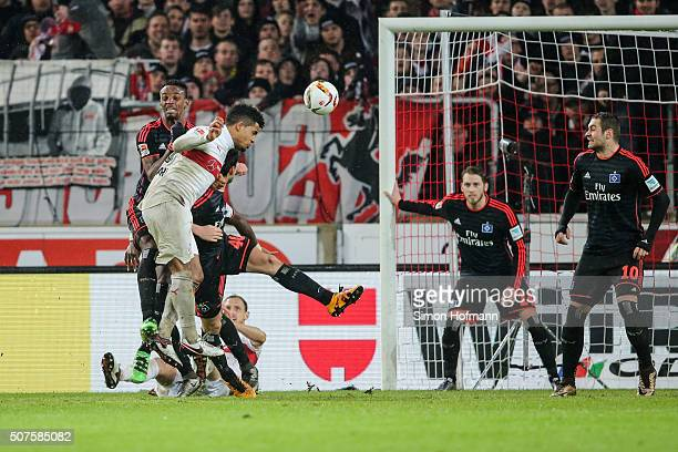 Daniel Didavi of Stuttgart scores his team's first goal during the Bundesliga match between VfB Stuttgart and Hamburger SV at MercedesBenz Arena on...