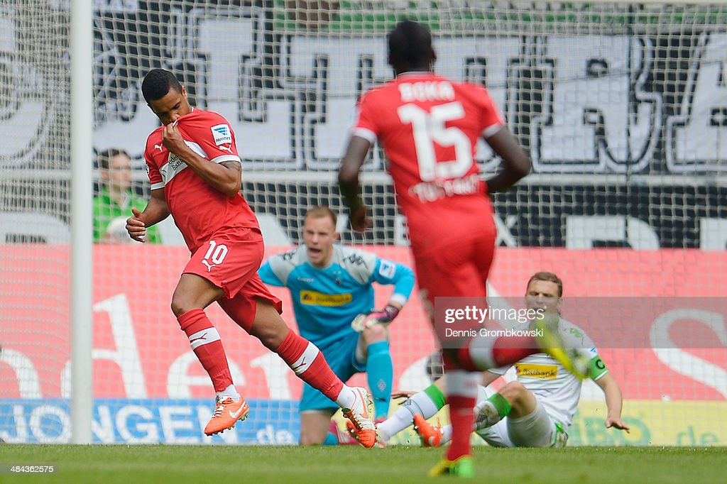 <a gi-track='captionPersonalityLinkClicked' href=/galleries/search?phrase=Daniel+Didavi&family=editorial&specificpeople=4409864 ng-click='$event.stopPropagation()'>Daniel Didavi</a> of VfB Stuttgart celebrates after scoring his team's opening goal during the Bundesliga match between Borussia Moenchengladbach and VfB Stuttgart at Borussia-Park on April 12, 2014 in Moenchengladbach, Germany.