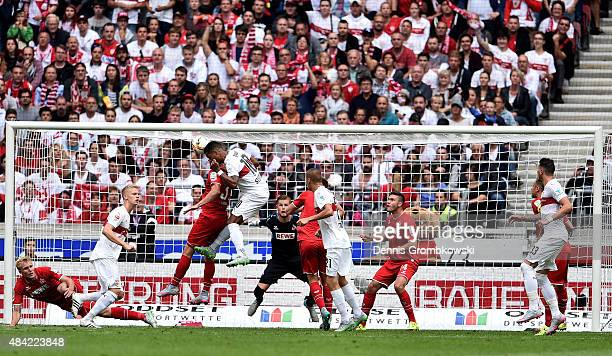 Daniel Didavi of VfB Stuttgart goes up for a header during the Bundesliga match between VfB Stuttgart and 1 FC Koeln at MercedesBenz Arena on August...
