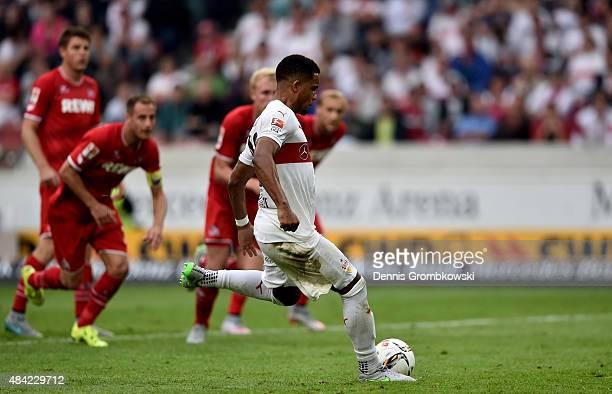 Daniel Didavi of VfB Stuttgart scores his teams first goal during the Bundesliga match between VfB Stuttgart and 1 FC Koeln at MercedesBenz Arena on...