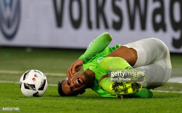 Daniel Didavi of VfL Wolfsburg lies on the pitch during the Bundesliga match between VfL Wolfsburg and Werder Bremen at Volkswagen Arena on February...