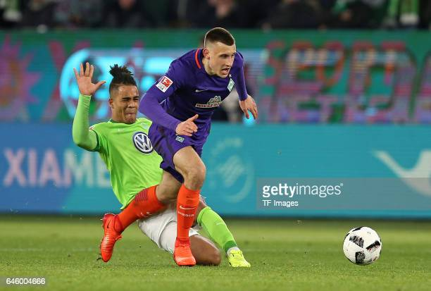 Daniel Didavi of Wolfsburg and Maximilian Eggestein of Werder Bremen battle for the ball during the Bundesliga match between VfL Wolfsburg and Werder...