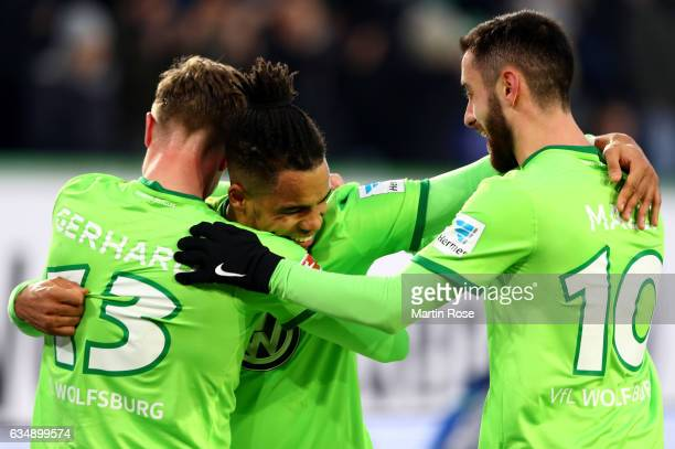 Daniel Didavi of Wolfsburg celebrates after scoring his teams second goal during the Bundesliga match between VfL Wolfsburg and TSG 1899 Hoffenheim...