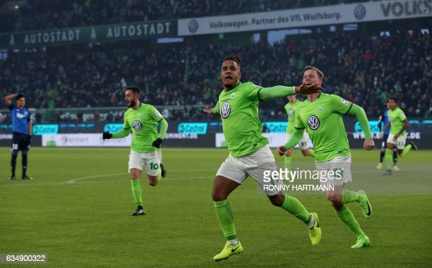 Daniel Didavi of Wolfsburg celebrates after scoring his team's second goal during the German First division Bundesliga football match between VfL...