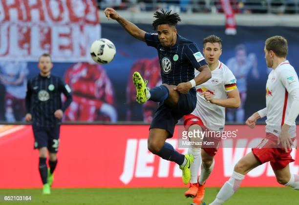 Daniel Didavi of Wolfsburg jumps with the ball during the Bundesliga match between RB Leipzig and VfL Wolfsburg at Red Bull Arena on March 11 2017 in...