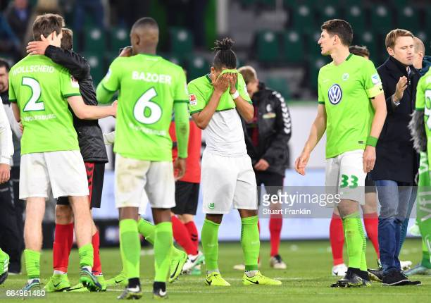 Daniel Didavi of Wolfsburg looks dejected at the end of the Bundesliga match between VfL Wolfsburg and SC Freiburg at Volkswagen Arena on April 5...
