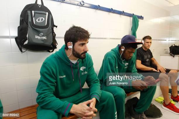 Daniel Diez #11 of Unicaja Malaga and Jeff Brooks #23 in the dressing room prior the 20162017 7Days Eurocup Finals Leg 1 Valencia Basket v Unicaja...