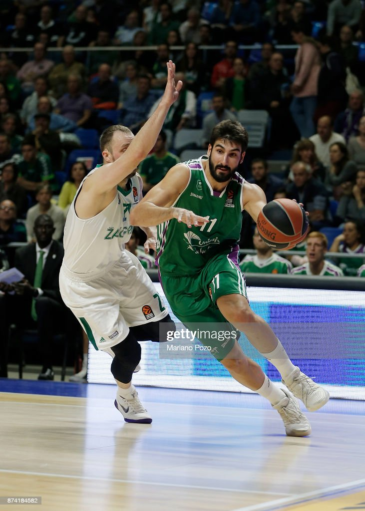 Daniel Diez, #11 of Unicaja Malaga in action during the 2017/2018 Turkish Airlines EuroLeague Regular Season Round 7 game between Unicaja Malaga and Zalgiris Kaunas at Martin Carpena Arena on November 14, 2017 in Malaga, Spain.
